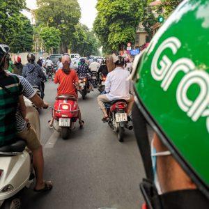 Riding on a Grab Bike, Vietnam