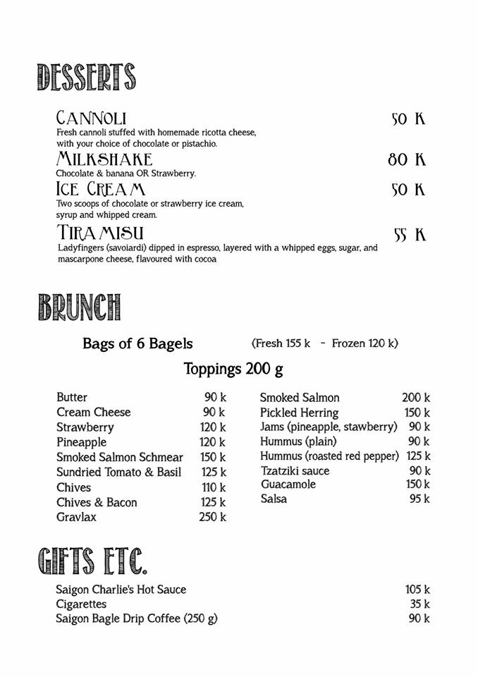 Saigon Bagel Menu: Page 3