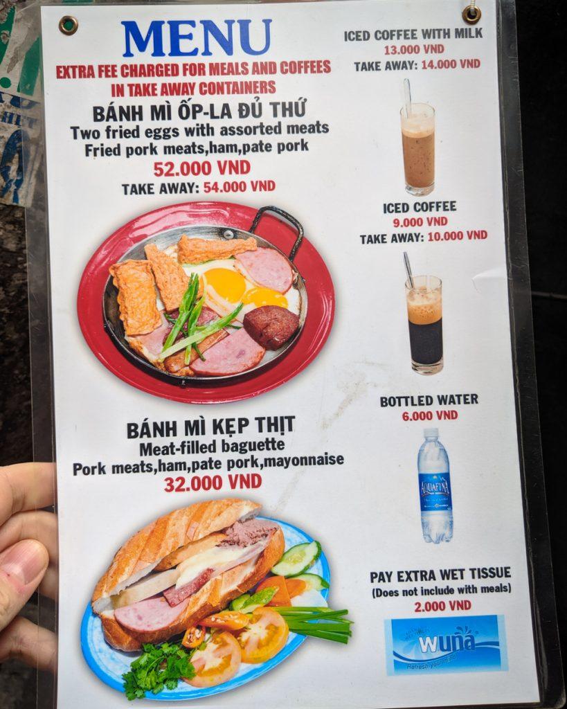 Menu at Banh Mi Hoa Ma, Ho Chi Minh, Vietnam