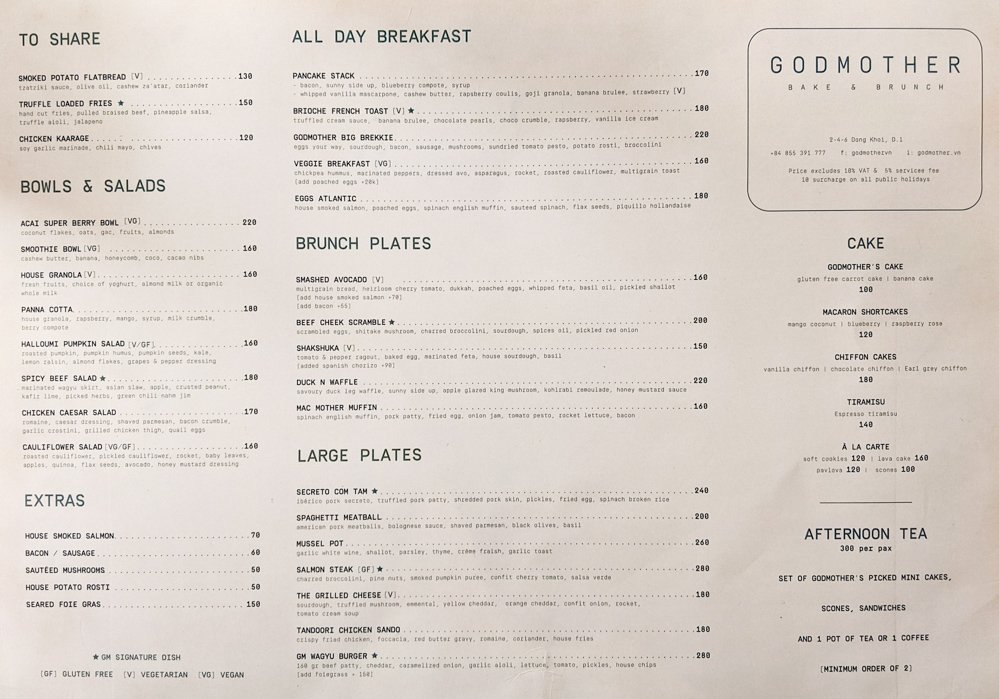 Godmother Bake & Brunch: Menu Page 1 - Saigon, Vietnam
