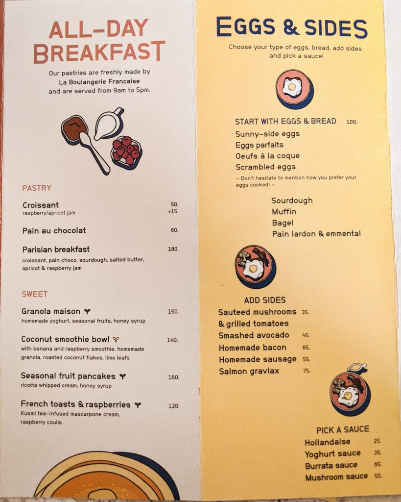 Cafe Marcel Menu: Breakfast - Saigon, Vietnam