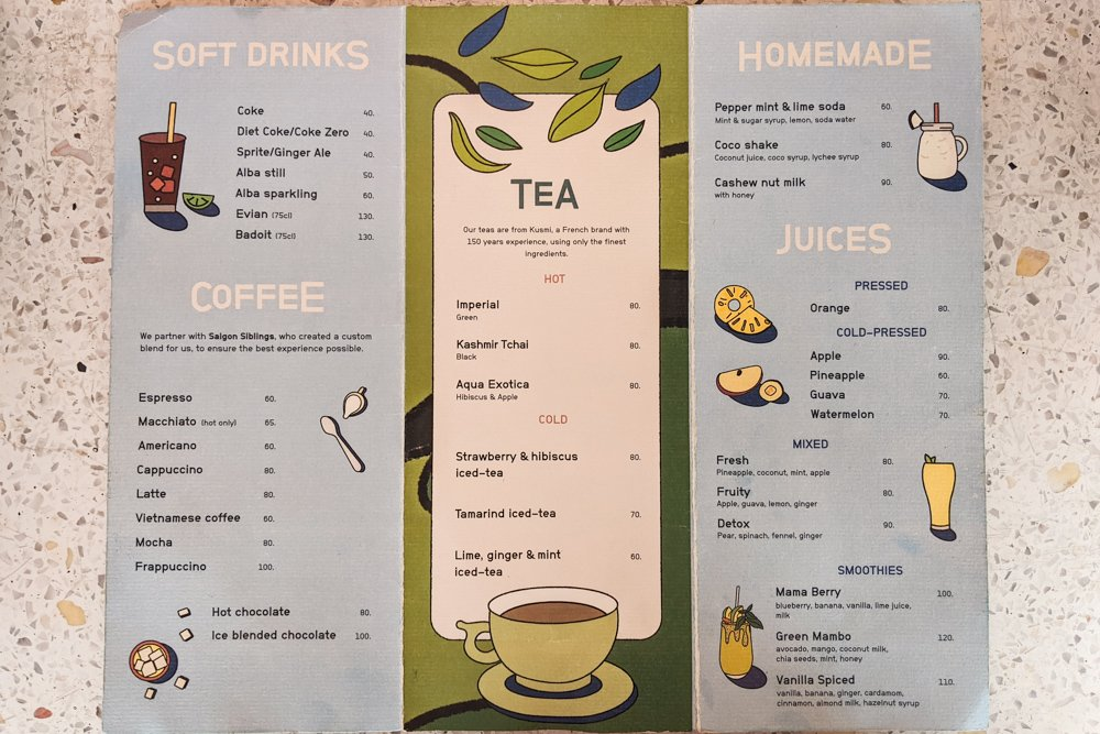 Cafe Marcel Menu: Drinks - Saigon, Vietnam