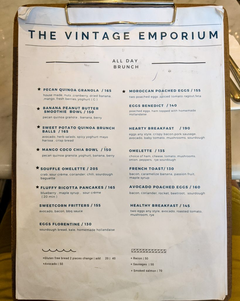Vintage Emporium Menu - Page 1